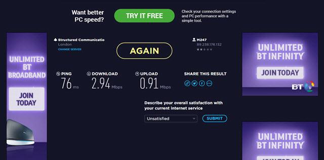 Test prędkości CyberGhost Pro